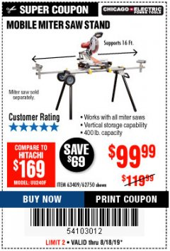 Harbor Freight Coupon CHICAGO ELECTRIC HEAVY DUTY MOBILE MITER SAW STAND Lot No. 63409/62750 Expired: 8/18/19 - $99.99