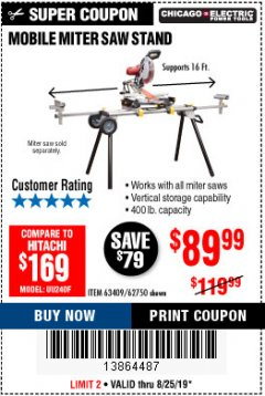 Harbor Freight Coupon CHICAGO ELECTRIC HEAVY DUTY MOBILE MITER SAW STAND Lot No. 63409/62750 Expired: 8/25/19 - $89.99