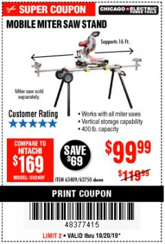 Harbor Freight Coupon CHICAGO ELECTRIC HEAVY DUTY MOBILE MITER SAW STAND Lot No. 63409/62750 Expired: 10/20/19 - $99.99