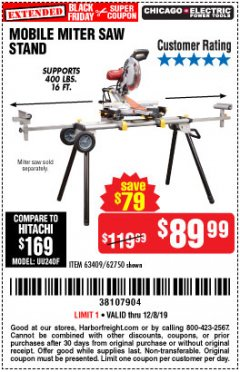Harbor Freight Coupon CHICAGO ELECTRIC HEAVY DUTY MOBILE MITER SAW STAND Lot No. 63409/62750 Expired: 12/8/19 - $89.99