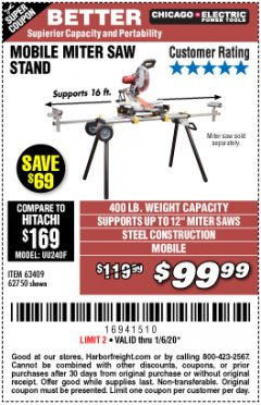 Harbor Freight Coupon CHICAGO ELECTRIC HEAVY DUTY MOBILE MITER SAW STAND Lot No. 63409/62750 Expired: 1/6/20 - $99.99