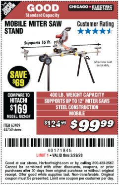 Harbor Freight Coupon CHICAGO ELECTRIC HEAVY DUTY MOBILE MITER SAW STAND Lot No. 63409/62750 Expired: 2/29/20 - $99.99