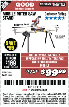 Harbor Freight Coupon CHICAGO ELECTRIC HEAVY DUTY MOBILE MITER SAW STAND Lot No. 63409/62750 Expired: 2/8/20 - $99.99