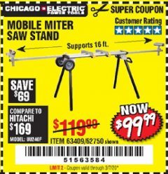 Harbor Freight Coupon CHICAGO ELECTRIC HEAVY DUTY MOBILE MITER SAW STAND Lot No. 63409/62750 Expired: 3/7/20 - $99.99