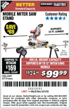 Harbor Freight Coupon CHICAGO ELECTRIC HEAVY DUTY MOBILE MITER SAW STAND Lot No. 63409/62750 Expired: 3/31/20 - $99.99