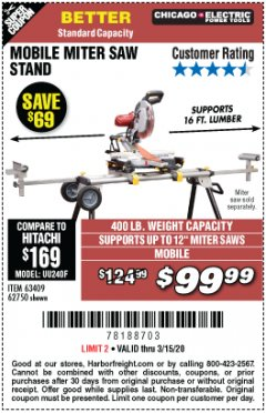 Harbor Freight Coupon CHICAGO ELECTRIC HEAVY DUTY MOBILE MITER SAW STAND Lot No. 63409/62750 Expired: 3/15/20 - $99.99