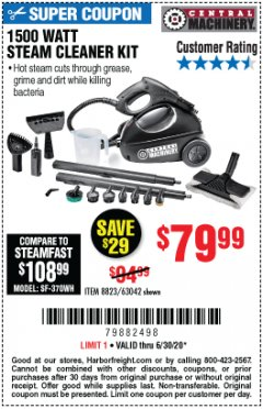 Harbor Freight Coupon 1500 WATT STEAM CLEANER KIT Lot No. 8823/63042 Expired: 6/30/20 - $79.99