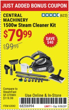 Harbor Freight Coupon 1500 WATT STEAM CLEANER KIT Lot No. 8823/63042 Expired: 9/30/20 - $79.99