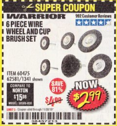 Harbor Freight Coupon 6 PIECE WIRE WHEEL AND CUP BRUSH SET Lot No. 60475/62581/1341 Expired: 11/30/19 - $2.99