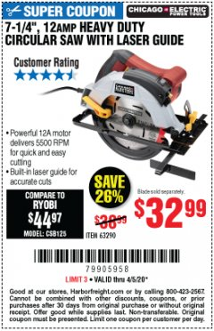 "Harbor Freight Coupon 7-1/4"", 12 AMP HEAVY DUTY CIRCULAR SAW WITH LASER GUIDE SYSTEM Lot No. 63290 EXPIRES: 6/30/20 - $32.99"