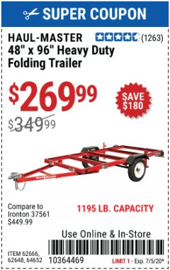 Harbor Freight Coupon 1090 LB. CAPACITY UTILITY TRAILER Lot No. 62645/62665 EXPIRES: 7/5/20 - $269.99