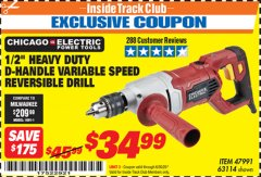 "Harbor Freight ITC Coupon 1/2"" HEAVY DUTY D-HANDLE VARIABLE SPEED DRILL Lot No. 69453/63114 Dates Valid: 12/31/69 - 6/30/20 - $34.99"