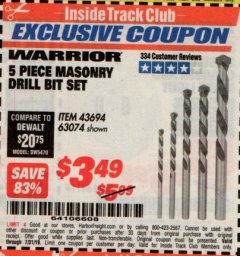 Harbor Freight ITC Coupon 5 PIECE MASONRY DRILL BIT SET Lot No. 63074/43694 Expired: 7/31/19 - $3.49
