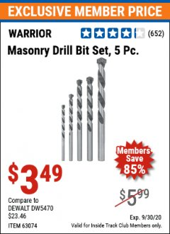 Harbor Freight ITC Coupon 5 PIECE MASONRY DRILL BIT SET Lot No. 63074/43694 Expired: 9/30/20 - $3.49