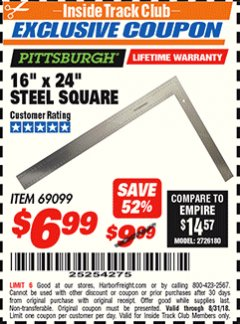 "Harbor Freight ITC Coupon 16"" X 24"" STEEL SQUARE Lot No. 69099 Expired: 8/31/18 - $6.99"