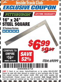 "Harbor Freight ITC Coupon 16"" X 24"" STEEL SQUARE Lot No. 69099 Expired: 8/31/19 - $6.99"