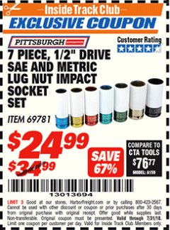 "Harbor Freight ITC Coupon 7 PIECE, 1/2"" DRIVE SAE AND METRIC LUG NUT IMPACT DRIVE SOCKETS Lot No. 69781 Expired: 7/31/18 - $24.99"