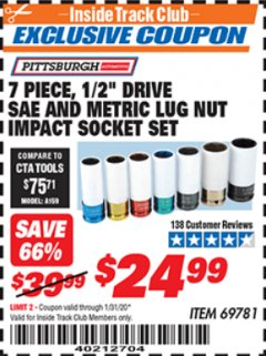 "Harbor Freight ITC Coupon 7 PIECE, 1/2"" DRIVE SAE AND METRIC LUG NUT IMPACT DRIVE SOCKETS Lot No. 69781 Expired: 1/31/20 - $24.99"
