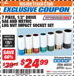 "Harbor Freight ITC Coupon 7 PIECE, 1/2"" DRIVE SAE AND METRIC LUG NUT IMPACT DRIVE SOCKETS Lot No. 69781 Valid Thru: 3/31/20 - $24.99"