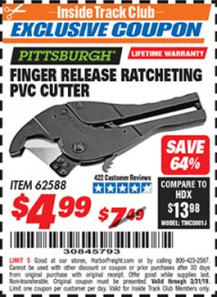 Harbor Freight ITC Coupon FINGER RELEASE RATCHETING PVC CUTTER Lot No. 62588 Expired: 3/31/19 - $4.99