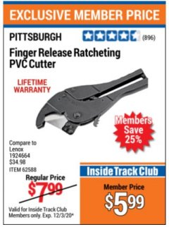 Harbor Freight ITC Coupon FINGER RELEASE RATCHETING PVC CUTTER Lot No. 62588 Expired: 12/3/20 - $5.99