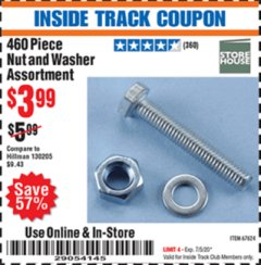 Harbor Freight ITC Coupon 460 PIECE NUT AND WASHER ASSORTMENT Lot No. 67624 Dates Valid: 12/31/69 - 7/5/20 - $3.99