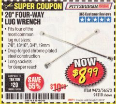 "Harbor Freight Coupon 20"" FOUR-WAY LUG WRENCH Lot No. 94110 Expired: 11/30/19 - $8.99"