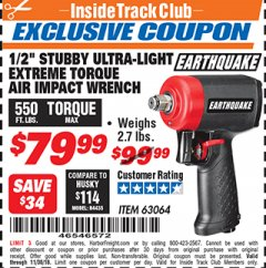 Harbor Freight ITC Coupon EARTHQUAKE 1/2 IN. STUBBY AIR IMPACT WRENCH Lot No. 63064 Expired: 11/30/18 - $79.99