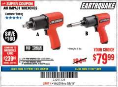 Harbor Freight Coupon EARTHQUAKE 1/2 IN. STUBBY AIR IMPACT WRENCH Lot No. 63064 Expired: 7/18/18 - $79.99