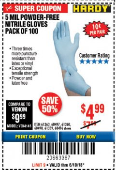 Harbor Freight Coupon 5 MIL NITRILE GLOVES 100/PK Lot No. 61363/ 68497/ 68498 Expired: 6/10/18 - $4.99