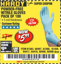 Harbor Freight Coupon 5 MIL NITRILE GLOVES 100/PK Lot No. 61363/ 68497/ 68498 Expired: 10/15/18 - $5.99