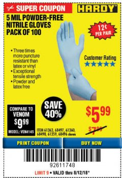 Harbor Freight Coupon 5 MIL NITRILE GLOVES 100/PK Lot No. 61363/ 68497/ 68498 Expired: 8/12/18 - $5.99