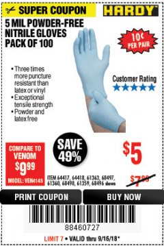 Harbor Freight Coupon 5 MIL NITRILE GLOVES 100/PK Lot No. 61363/ 68497/ 68498 Expired: 9/16/18 - $5