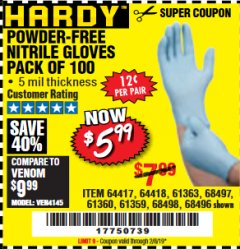 Harbor Freight Coupon 5 MIL NITRILE GLOVES 100/PK Lot No. 61363/ 68497/ 68498 Expired: 2/8/19 - $5.99