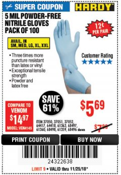 Harbor Freight Coupon 5 MIL NITRILE GLOVES 100/PK Lot No. 61363/ 68497/ 68498 Expired: 11/25/18 - $5.69