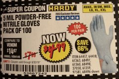 Harbor Freight Coupon 5 MIL NITRILE GLOVES 100/PK Lot No. 61363/ 68497/ 68498 Expired: 9/30/19 - $4.99