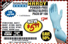 Harbor Freight Coupon 5 MIL NITRILE GLOVES 100/PK Lot No. 61363/ 68497/ 68498 Expired: 11/2/19 - $5.99