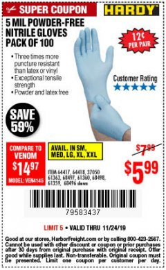 Harbor Freight Coupon 5 MIL NITRILE GLOVES 100/PK Lot No. 61363/ 68497/ 68498 Expired: 11/24/19 - $5.99