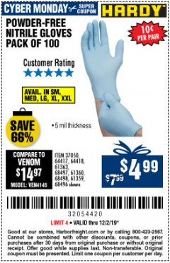 Harbor Freight Coupon 5 MIL NITRILE GLOVES 100/PK Lot No. 61363/ 68497/ 68498 Expired: 12/1/19 - $4.99