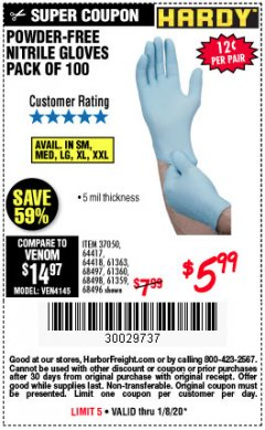 Harbor Freight Coupon 5 MIL NITRILE GLOVES 100/PK Lot No. 61363/ 68497/ 68498 Expired: 1/8/20 - $5.99