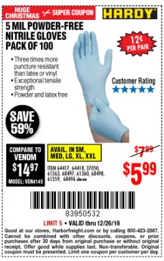 Harbor Freight Coupon 5 MIL NITRILE GLOVES 100/PK Lot No. 61363/ 68497/ 68498 Expired: 12/26/19 - $5.99