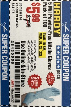 Harbor Freight Coupon 5 MIL NITRILE GLOVES 100/PK Lot No. 61363/ 68497/ 68498 Expired: 9/6/20 - $5.99