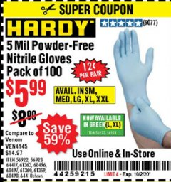 Harbor Freight Coupon 5 MIL NITRILE GLOVES 100/PK Lot No. 61363/ 68497/ 68498 Expired: 10/2/20 - $5.99