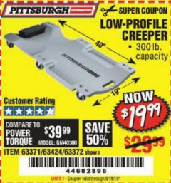 Harbor Freight Coupon LOW-PROFILE CREEPER Lot No. 63424/63371/63372 Expired: 5/15/19 - $19.99