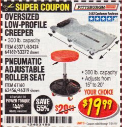 Harbor Freight Coupon LOW-PROFILE CREEPER Lot No. 63424/63371/63372 Expired: 7/31/19 - $19.99