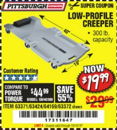 Harbor Freight Coupon LOW-PROFILE CREEPER Lot No. 63424/63371/63372 Expired: 10/14/19 - $19.99