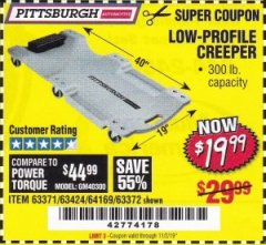 Harbor Freight Coupon LOW-PROFILE CREEPER Lot No. 63424/63371/63372 Expired: 11/2/19 - $19.99