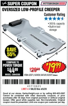 Harbor Freight Coupon LOW-PROFILE CREEPER Lot No. 63424/63371/63372 EXPIRES: 6/30/20 - $19.99