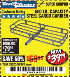 Harbor Freight Coupon STEEL CARGO CARRIER Lot No. 66983/69623 Expired: 10/18/18 - $39.99