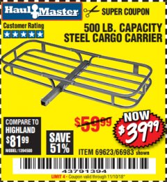 Harbor Freight Coupon STEEL CARGO CARRIER Lot No. 66983/69623 Expired: 11/10/18 - $39.99